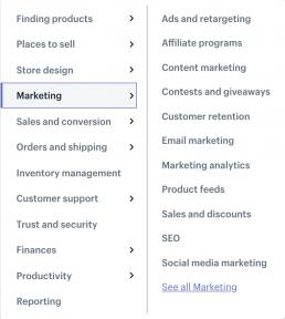 Shopify plugins menu